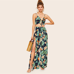 Boho Knot Front Cami Crop Top and Wrap Split Wide Leg Pants Set - WOMENEXY