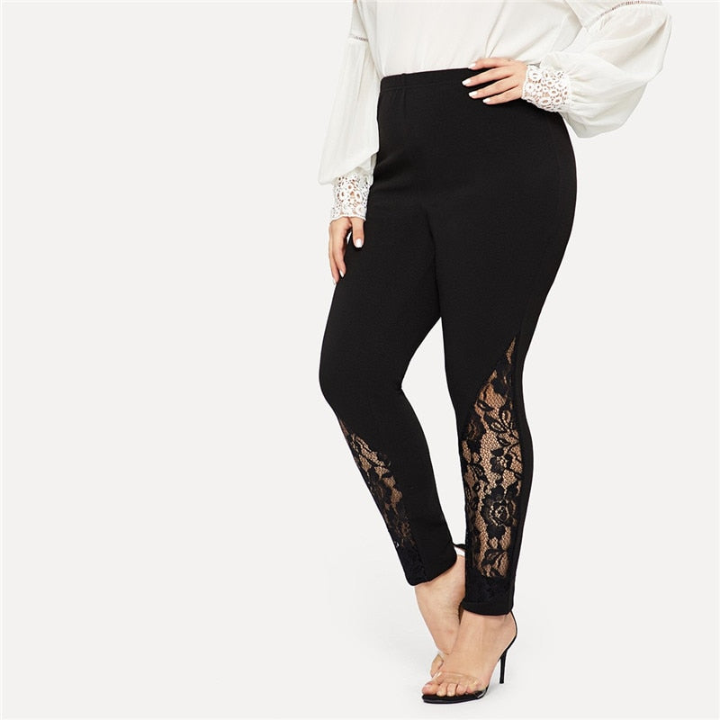 Casual Elastic Mid Waist Sheer Lace Insert Pencil Plus Size Pants - Black - WOMENEXY