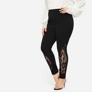 Casual Elastic Mid Waist Sheer Lace Insert Pencil Plus Size Pants - Black