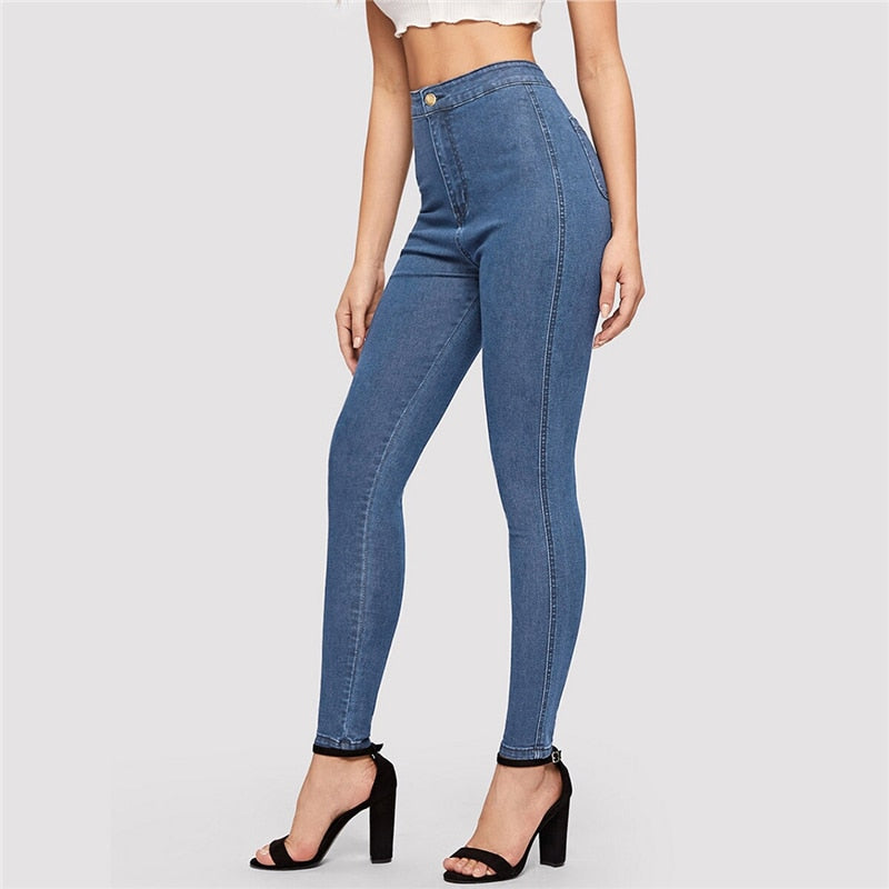 Casual Solid Skinny Jeans - Navy / Blue - WOMENEXY