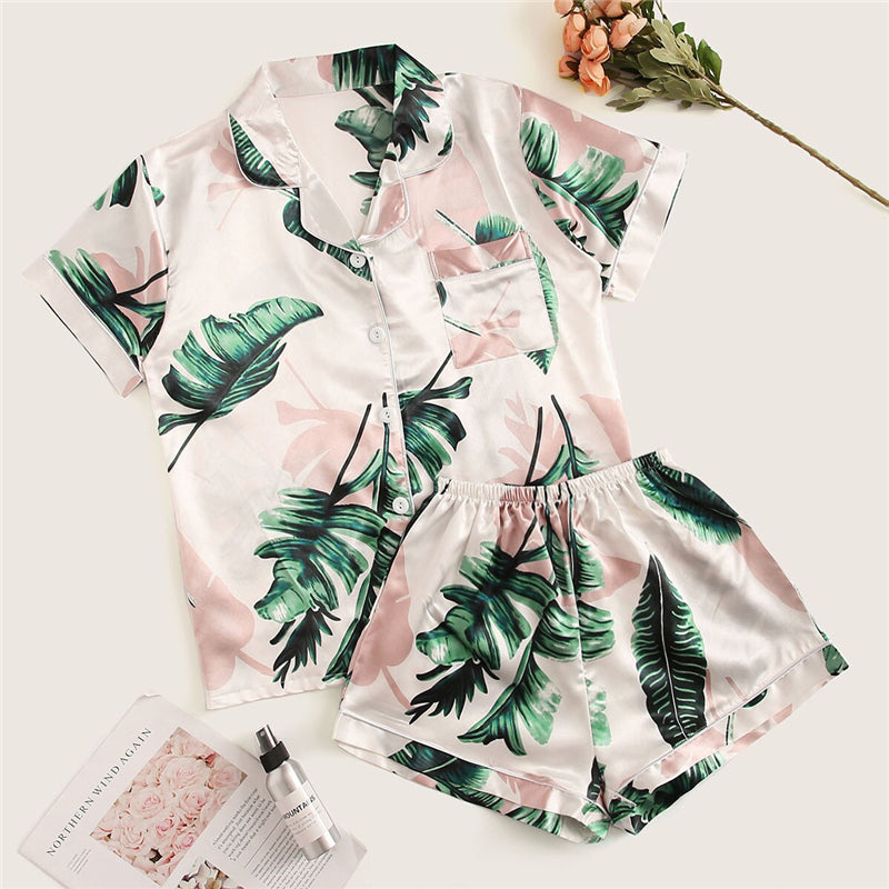 Casual Tropical Print Satin Pajama Sets - WOMENEXY