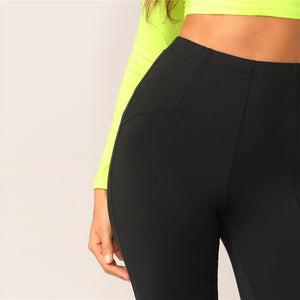 Sporty Solid High Waist Cycling Athleisure Crop Fitness Short Leggings - Black - WOMENEXY