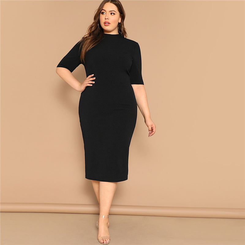 Classy Mock-Neck Solid Pencil Slim Plus Size Dress - Black / Burgundy / Yellow - WOMENEXY