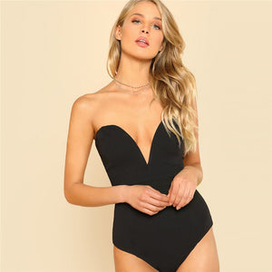 Sexy Sweetheart Bustier Bodysuit - Black / White