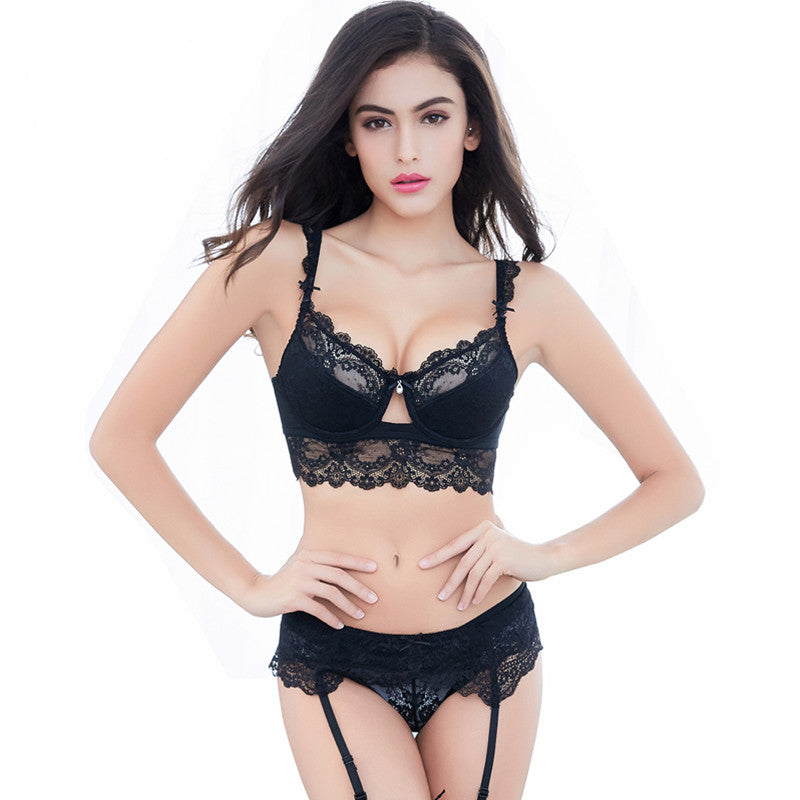 Sexy Ultra-Thin Transparent Lace Bra Sets - WOMENEXY