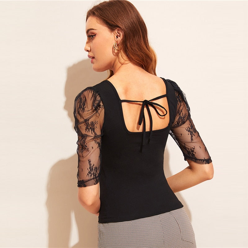 Lace Puff Sleeve Tie Back Top - Black