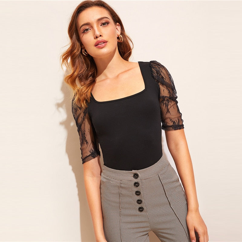 Lace Puff Sleeve Tie Back Top - Black - WOMENEXY