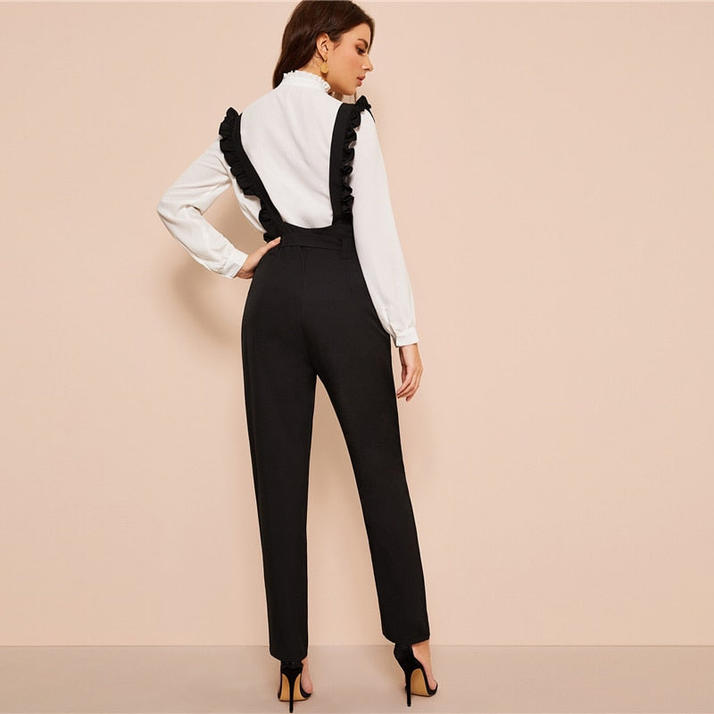 Elegant Belted Button Fly Pants With Ruffle Straps - Black - WOMENEXY