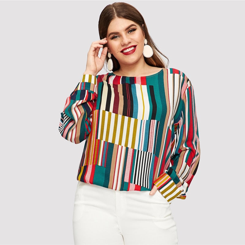 Elegant Striped Curved Hem Longline Plus Size Blouse