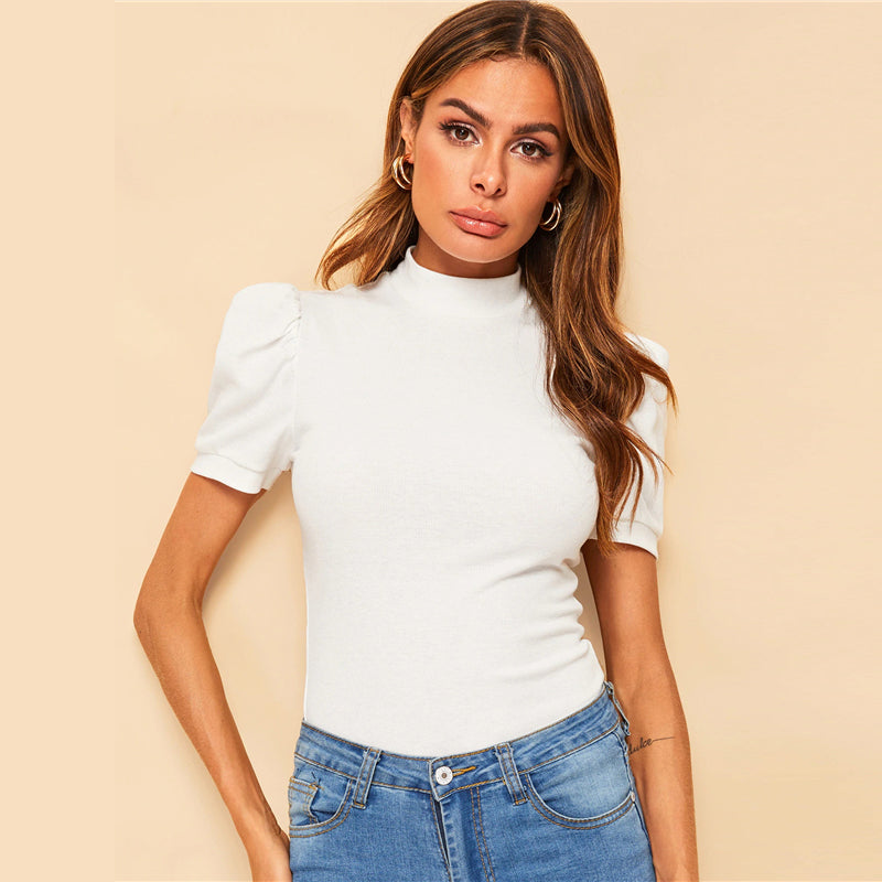 Elegant Mock-Neck Puff Sleeve Solid Top - White