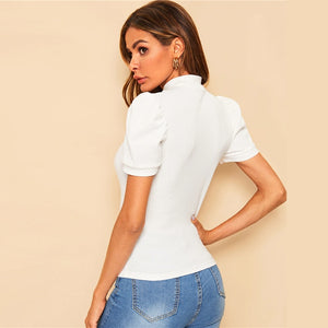 Elegant Mock-Neck Puff Sleeve Solid Top - White - WOMENEXY