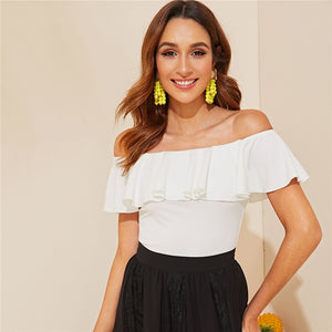 Elegant Flounce Off Shoulder Fitted Top - White
