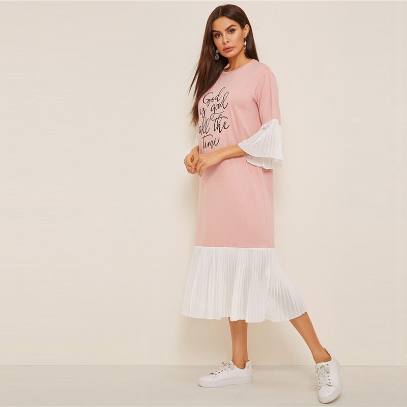 Casual Slogan Print Pleated Ruffle Hijab Summer Dress - Pink - WOMENEXY