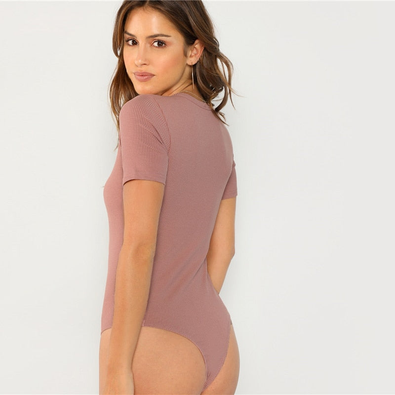 Minimalist Solid Form Fitting Bodysuit - Black / Ginger / Pink / White - WOMENEXY