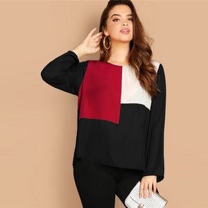 Keyhole Back Color-Block Button Long Sleeve Plus Size Top