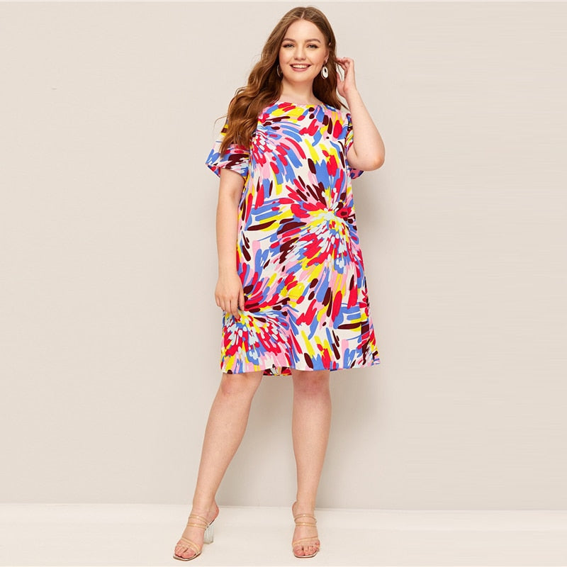 Casual Splash Print Tunic Plus Size Dress