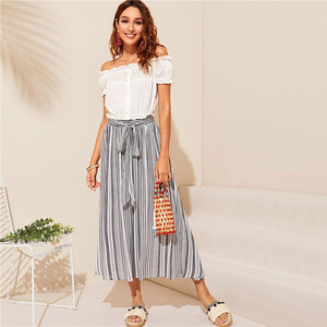 Boho Vertical Striped Belted Long Skirt - Grey - WOMENEXY