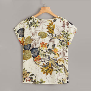 Boho Tropical Print Cap Sleeve Summer Top - WOMENEXY