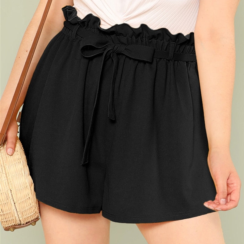 Elegant Solid Paperbag Waist Plus Size Shorts - Black / Green - WOMENEXY