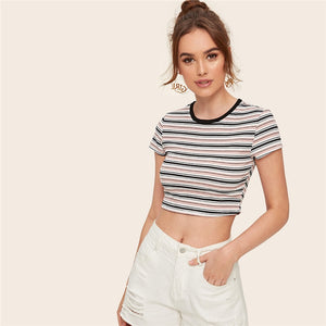 Casual Contrast Tape Striped Ribbed T-Shirt - WOMENEXY