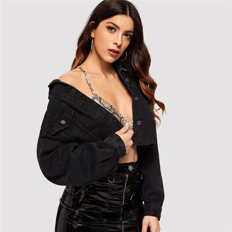 Casual Drop Shoulder Pocket Ripped Crop Denim Jacket - Black - WOMENEXY