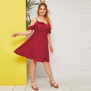 Boho Ruffle Cold Shoulder Confetti Heart Print A-Line Dress - Burgundy