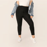 Load image into Gallery viewer, Casual Solid Plus Size Leggings - Black - WOMENEXY