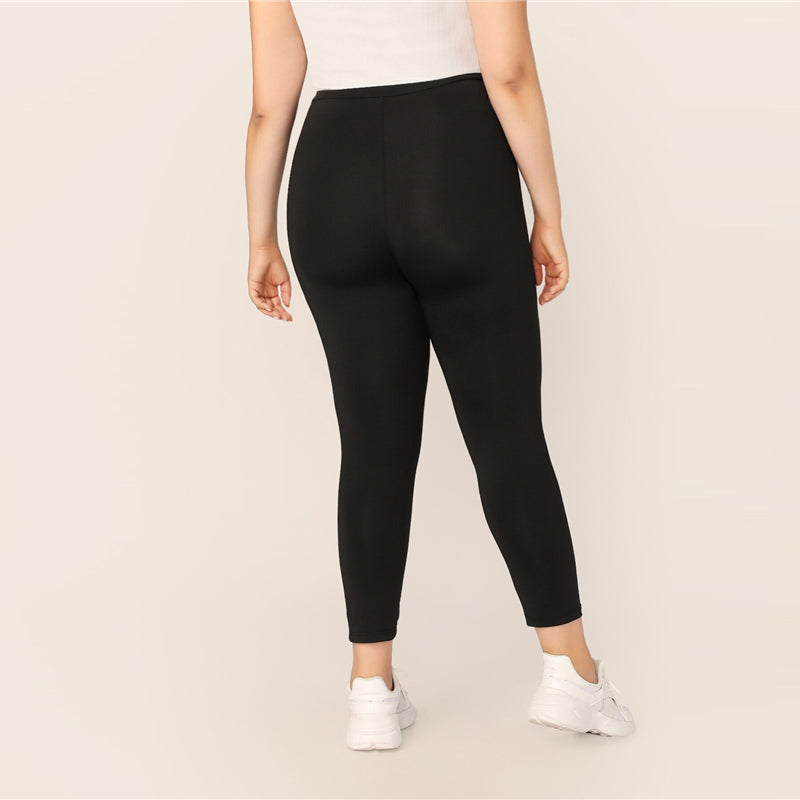Casual Solid Plus Size Leggings - Black - WOMENEXY