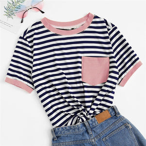 Preppy Patch Pocket Striped Ringer Plus Size Top - Pink