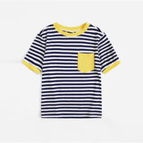 Preppy Patch Pocket Striped Ringer Plus Size Top - Yellow - WOMENEXY
