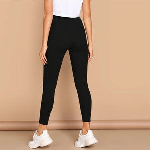 Casual High Waist Solid Leggings - Black / Gray / Pink / Burgundy / Navy - WOMENEXY