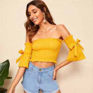 Boho Bow Tie Sleeve Ruffle Trim Shirred Off Shoulder Crop Top Blouse - Black / Yellow / White - WOMENEXY