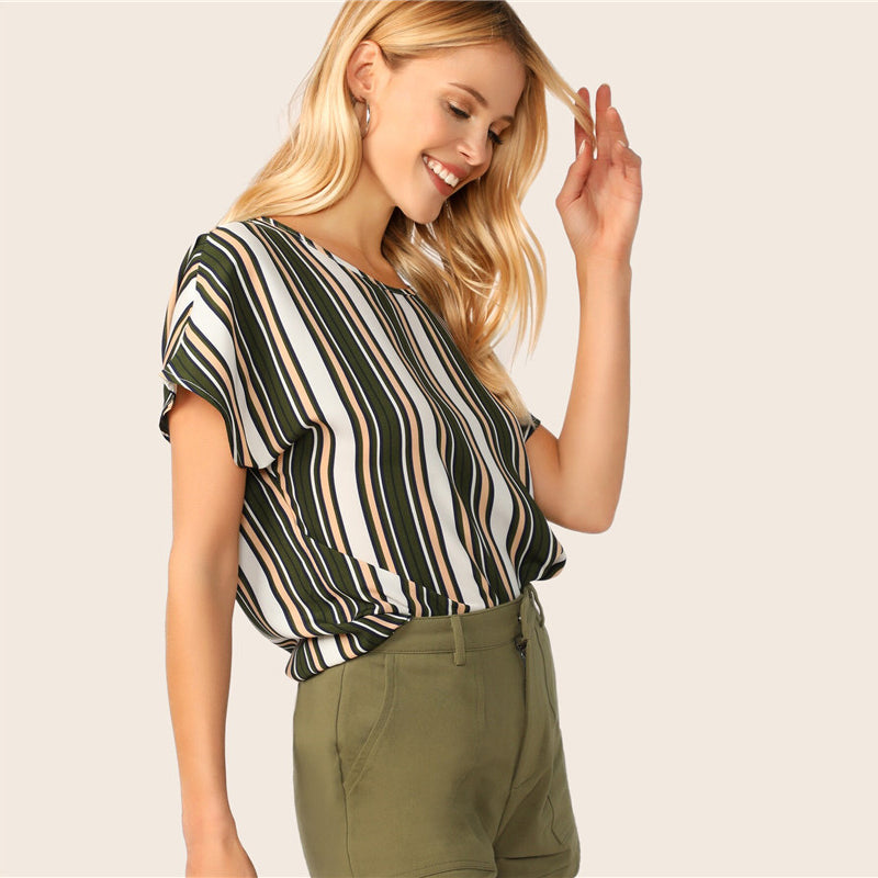 Casual Keyhole Back Colorblock Striped Summer Blouse - WOMENEXY