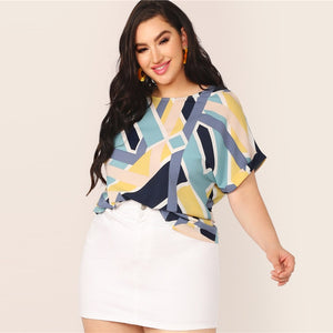 Casual Geo Print Cuffed Sleeve Plus Size Top Blouse