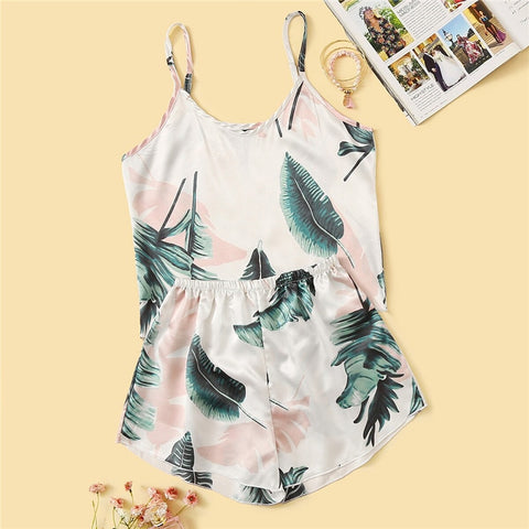 Casual Tropical Print Satin Pajama Set - WOMENEXY