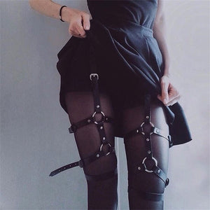 Gothic PU Leather Waist Web Leg Suspenders - WOMENEXY