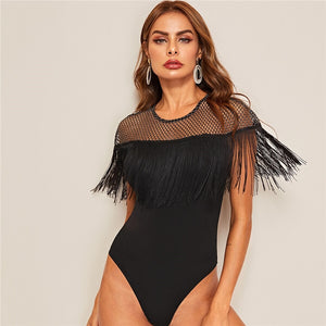 Glamorous Glitter Sheer Yoke Fringe Trim Bodysuit - Black