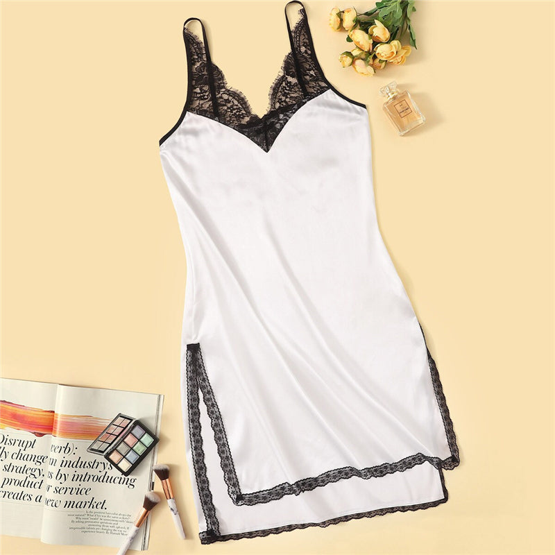 Sexy Contrast Lace Insert Split Side Nightdress - White - WOMENEXY