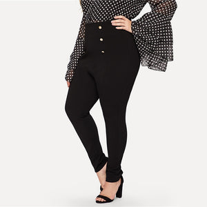 Classy High Waist Double Breasted Zipper Closure Pencil Plus Size Pants - Black