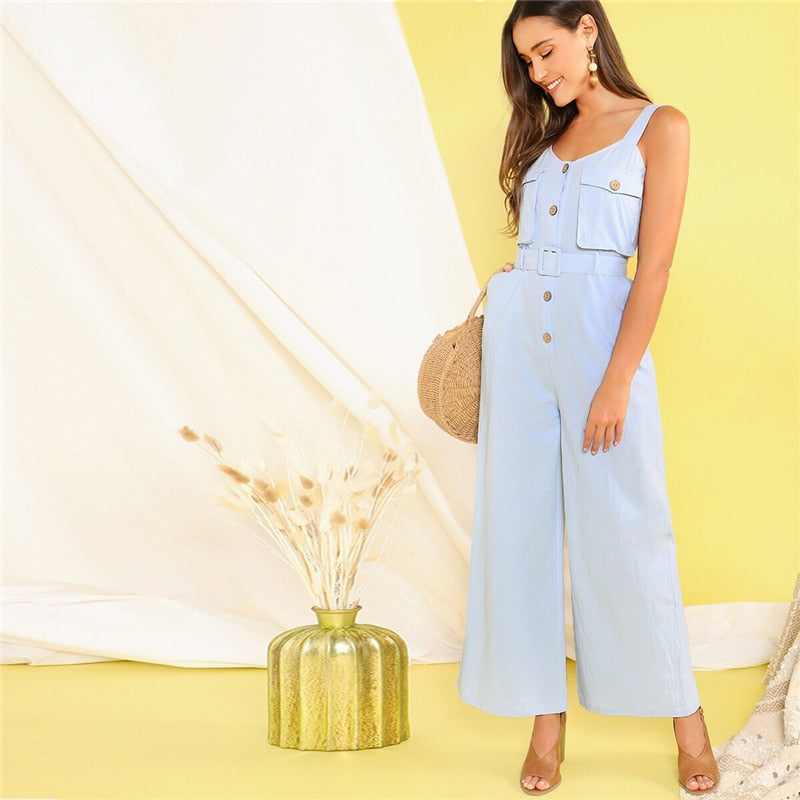 Casual Button Front Flap Pocket Belted Wide Leg Straps Jumpsuit - Blue - WOMENEXY