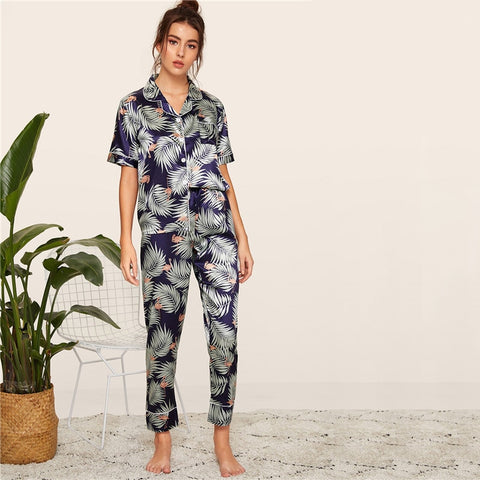 Casual Print Satin Pajamas Set - Multi / Green - WOMENEXY