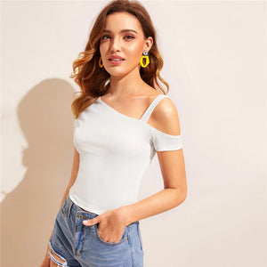 Casual Asymmetrical Neck Solid Top - White - WOMENEXY