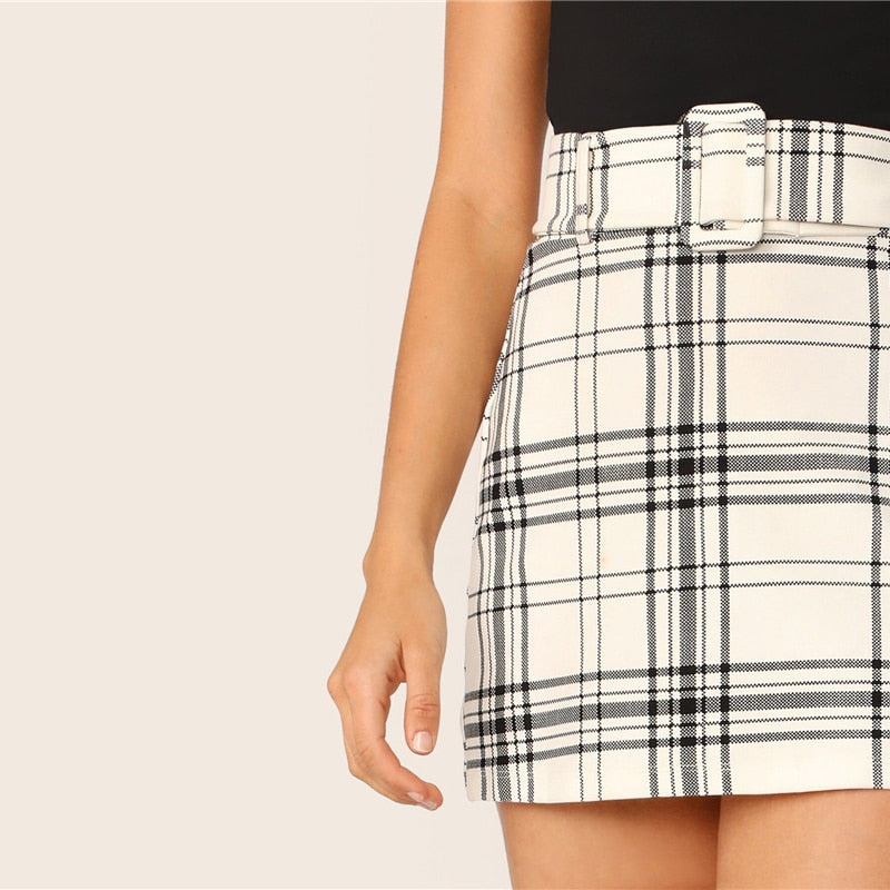 Korean Style Buckle Belted Plaid Skirt - White - WOMENEXY