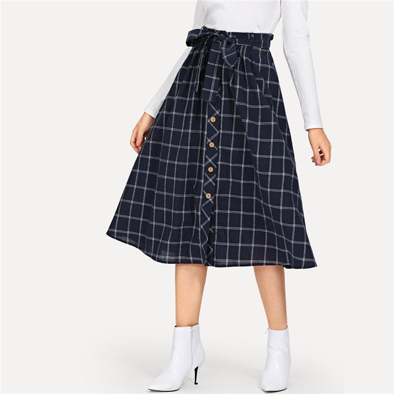 Preppy Button Detail Grid Flare Skirt - Navy