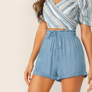 Casual Drawstring Waist Cuffed High Waist Shorts - Blue - WOMENEXY