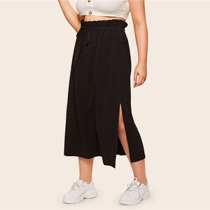 Casual Ruffle Drawstring Paperbag Waist Split Side Plus Size Skirt - Black