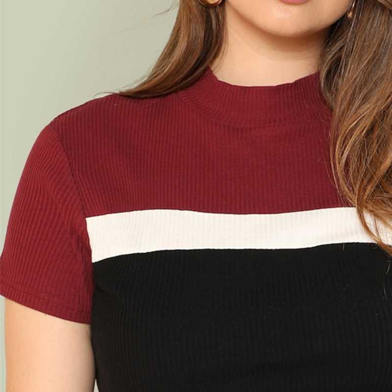 Casual Color Block Rib Knit Fitted Stand Collar Stretchy Plus Size Tee - WOMENEXY