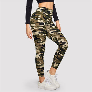 Casual Camo Print Leggings - Army Green / Gray / Green - WOMENEXY