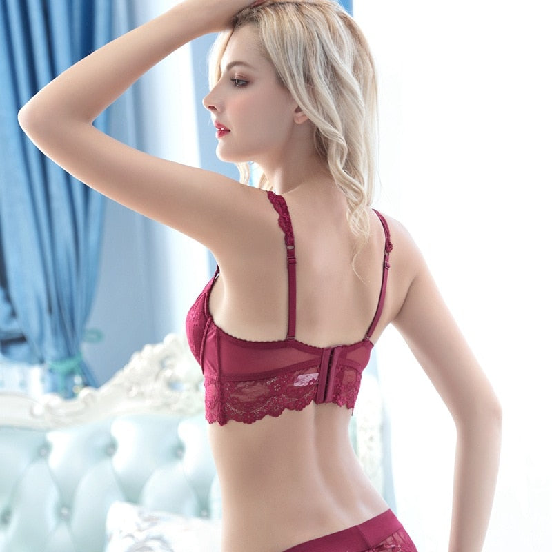 Europe Lace Thin Cup Bra Set - WOMENEXY