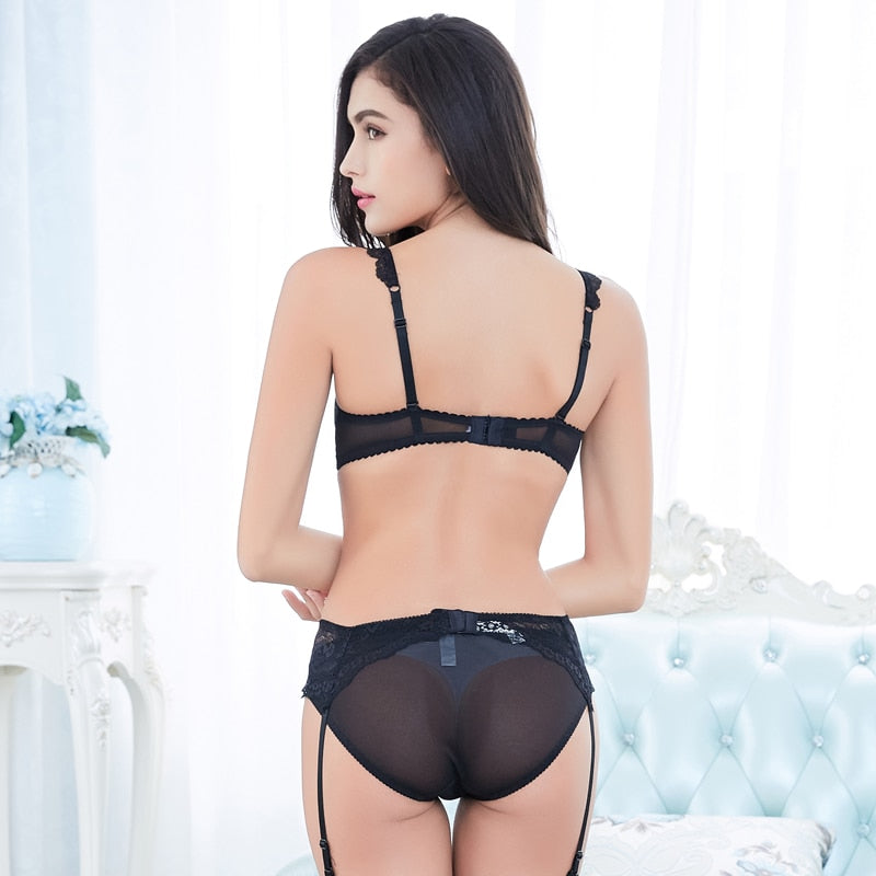 Sexy Thin Cup Transparent Lace Embroidery Bra Sets - WOMENEXY